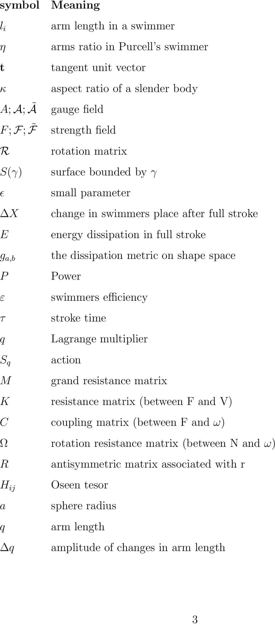 dissipation metric on shape space Power swimmers efficiency stroke time Lagrange multiplier action grand resistance matrix K resistance matrix (between F and V) C coupling
