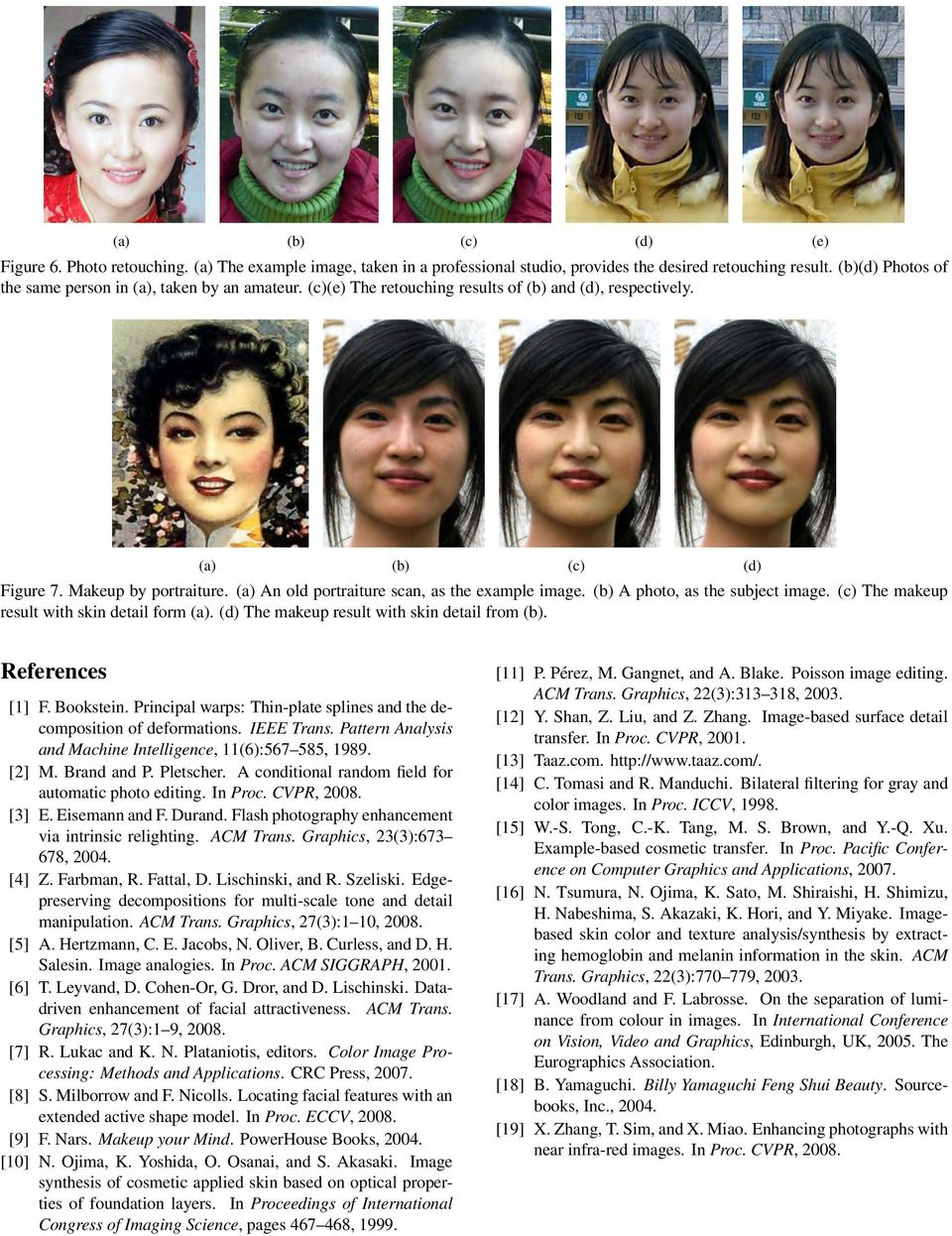 (a) An old portraiture scan, as the example image. (b) A photo, as the subject image. (c) The makeup result with skin detail form (a). (d) The makeup result with skin detail from (b).