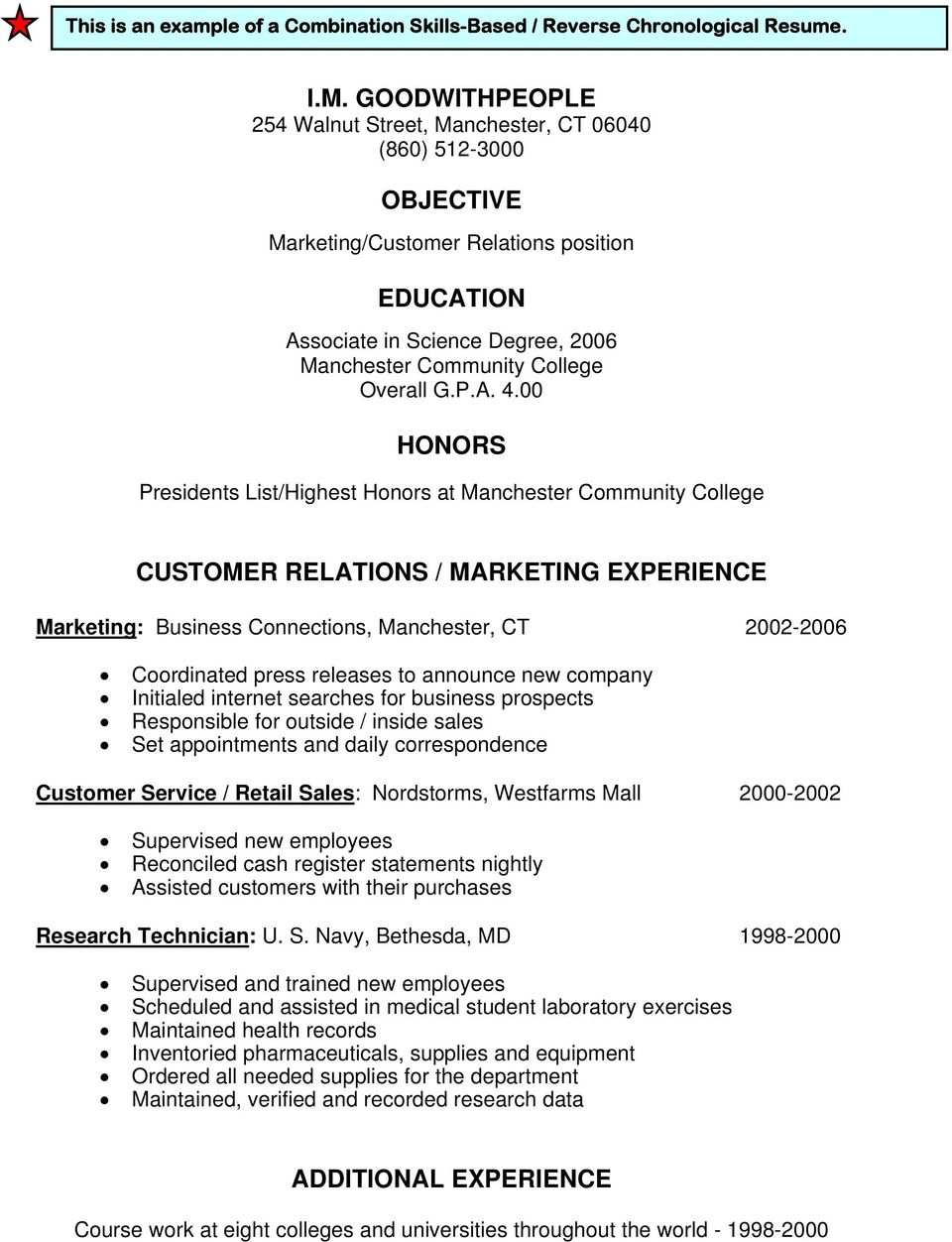 00 HONORS Presidents List/Highest Honors at CUSTOMER RELATIONS / MARKETING EXPERIENCE Marketing: Business Connections, Manchester, CT 2002-2006 Coordinated press releases to announce new company