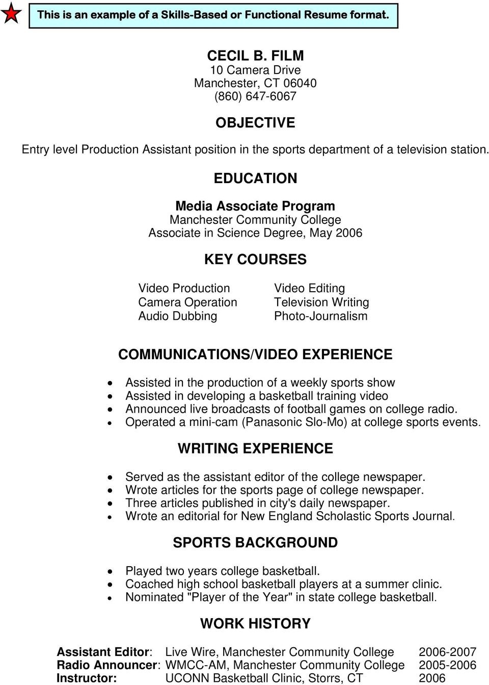 Media Associate Program Associate in Science Degree, May 2006 KEY COURSES Video Production Camera Operation Audio Dubbing Video Editing Television Writing Photo-Journalism COMMUNICATIONS/VIDEO