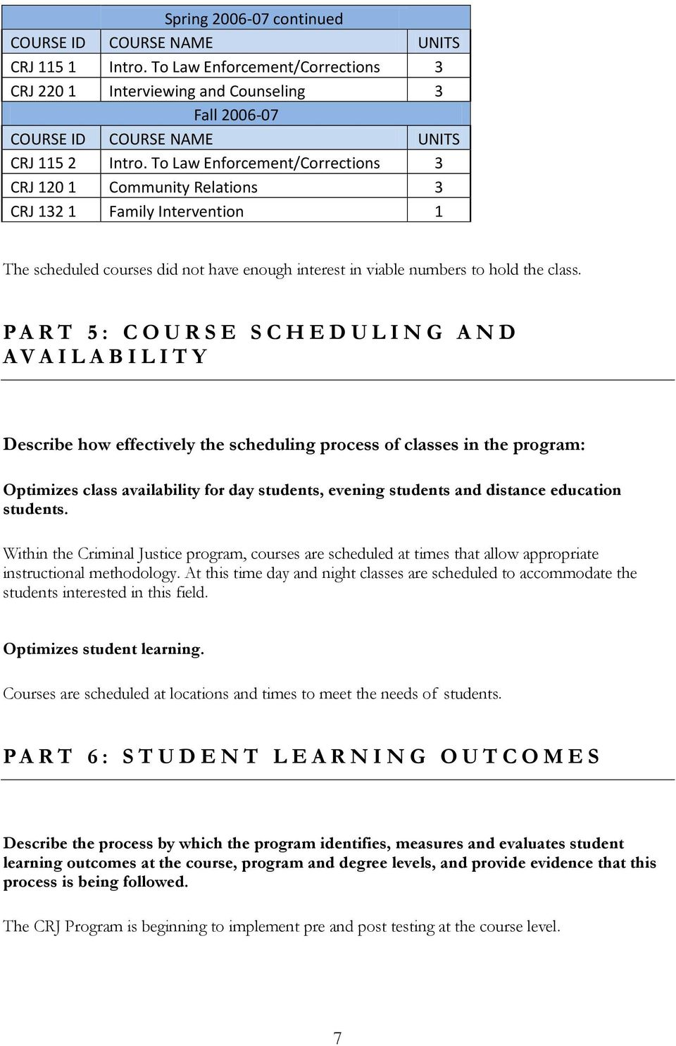 PART 5: COURSE SCHEDULING AND AVAILABILITY Describe how effectively the scheduling process of classes in the program: Optimizes class availability for day students, evening students and distance