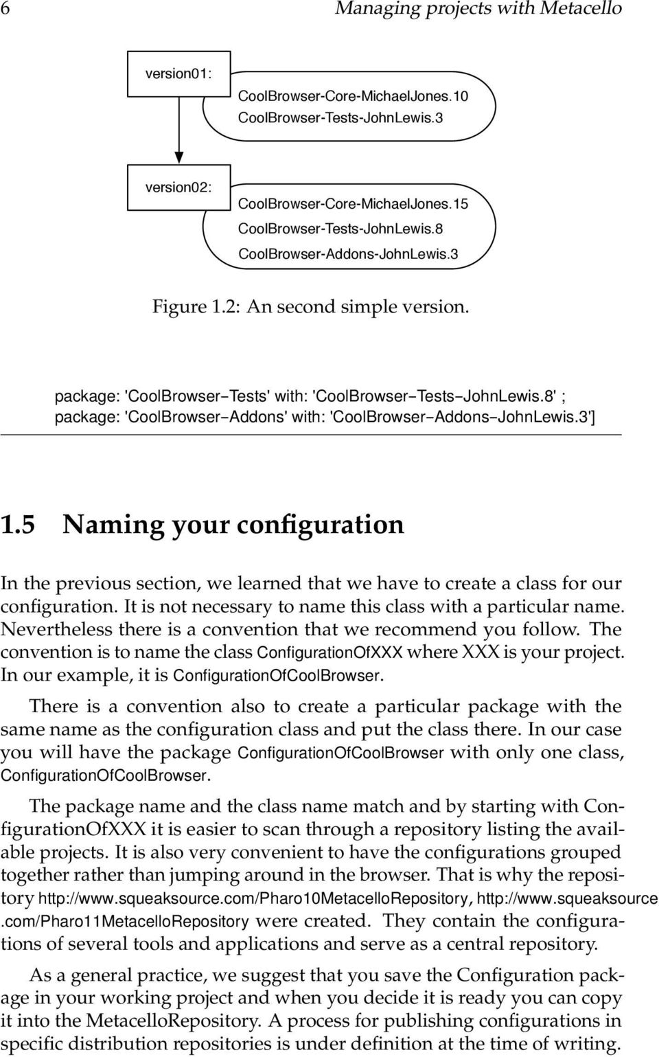8' ; package: 'CoolBrowser--Addons' with: 'CoolBrowser--Addons--JohnLewis.3'] 1.5 Naming your configuration In the previous section, we learned that we have to create a class for our configuration.