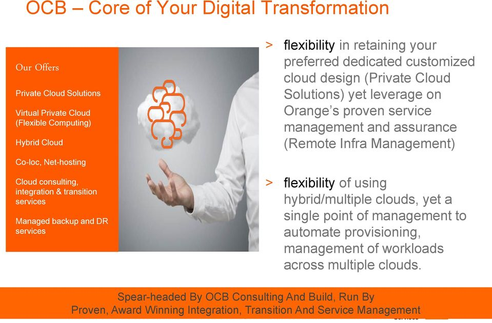leverage on Orange s proven service management and assurance (Remote Infra Management) > flexibility of using hybrid/multiple clouds, yet a single point of management to