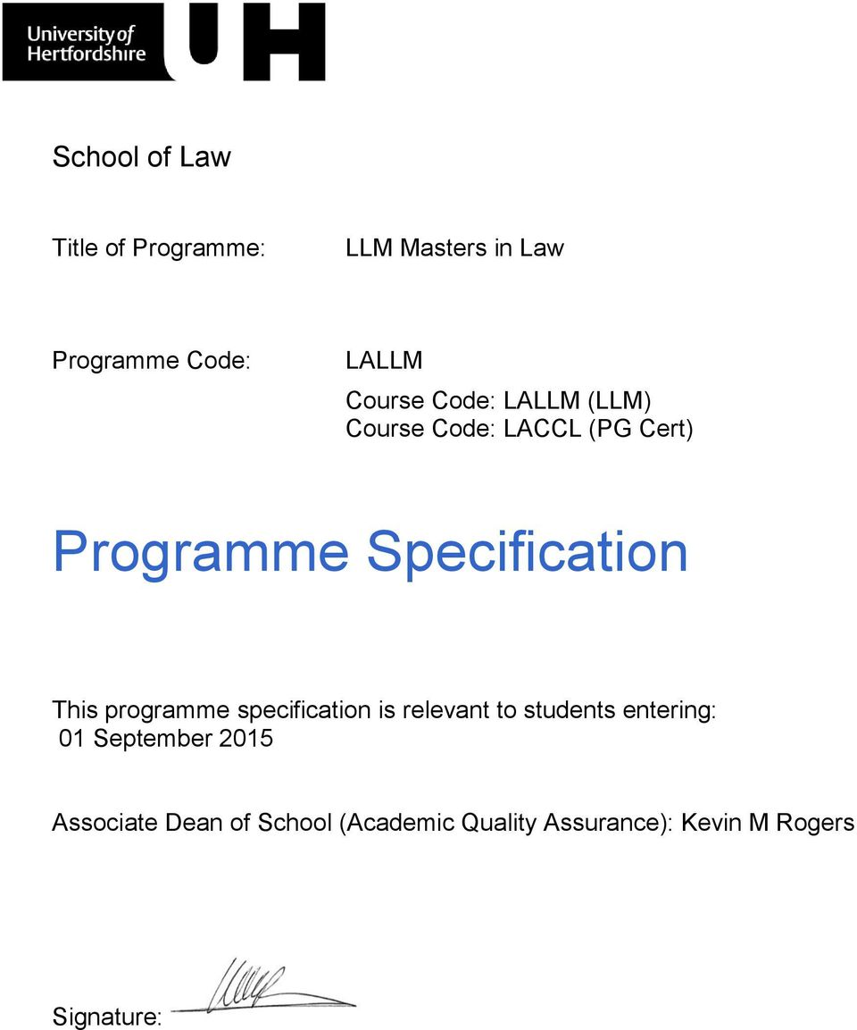 This programme specification is relevant to students entering: 1 September