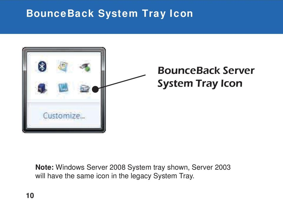 Server 2008 System tray shown, Server 2003