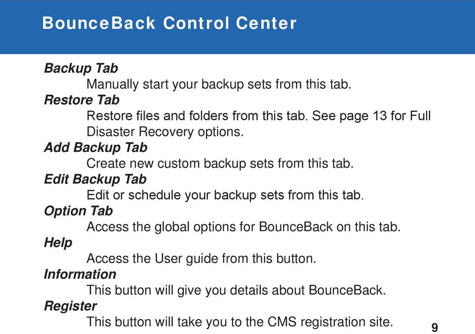 Edit Backup Tab Edit or schedule your backup sets from this tab. Option Tab Access the global options for BounceBack on this tab.