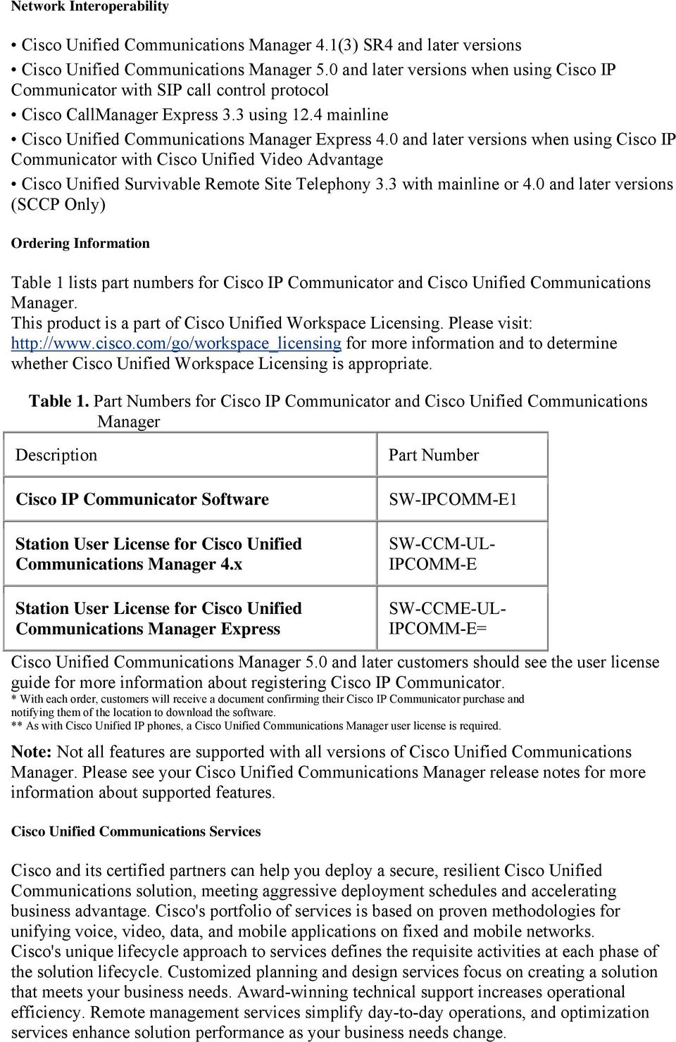 0 and later versions when using Cisco IP Communicator with Cisco Unified Video Advantage Cisco Unified Survivable Remote Site Telephony 3.3 with mainline or 4.