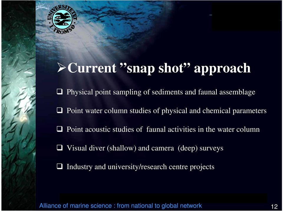 activities in the water column Visual diver (shallow) and camera (deep) surveys Industry and