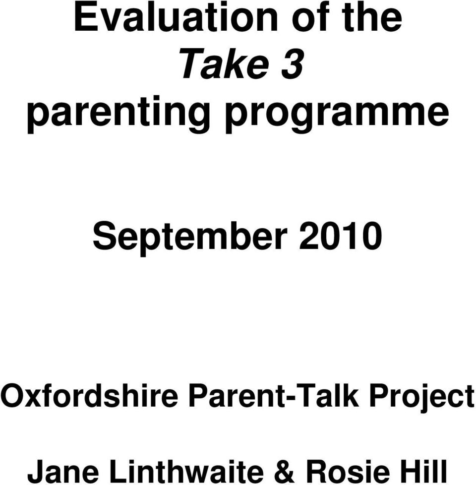 2010 Oxfordshire Parent-Talk
