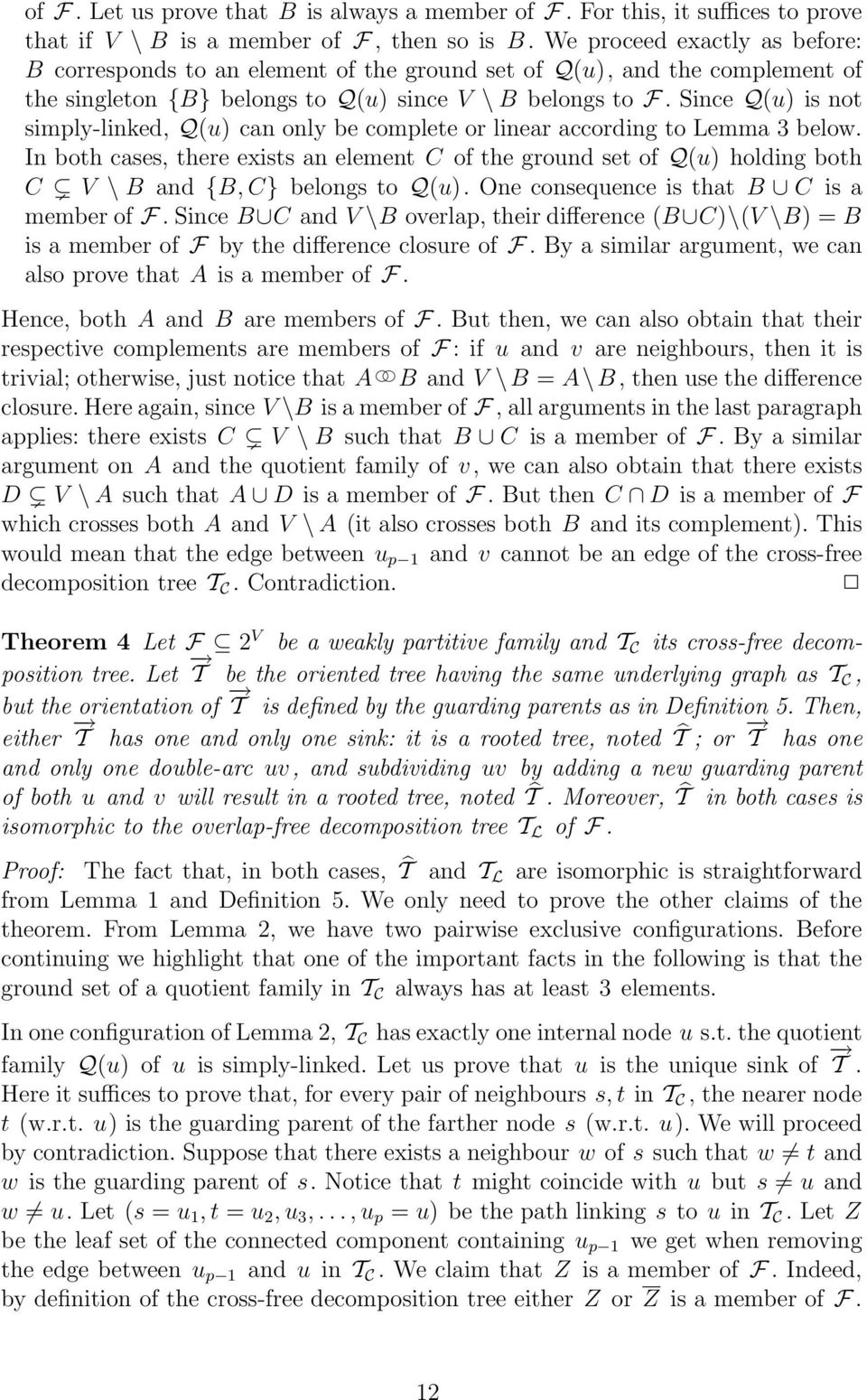 Since Q(u) is not simply-linked, Q(u) can only be complete or linear according to Lemma 3 below.