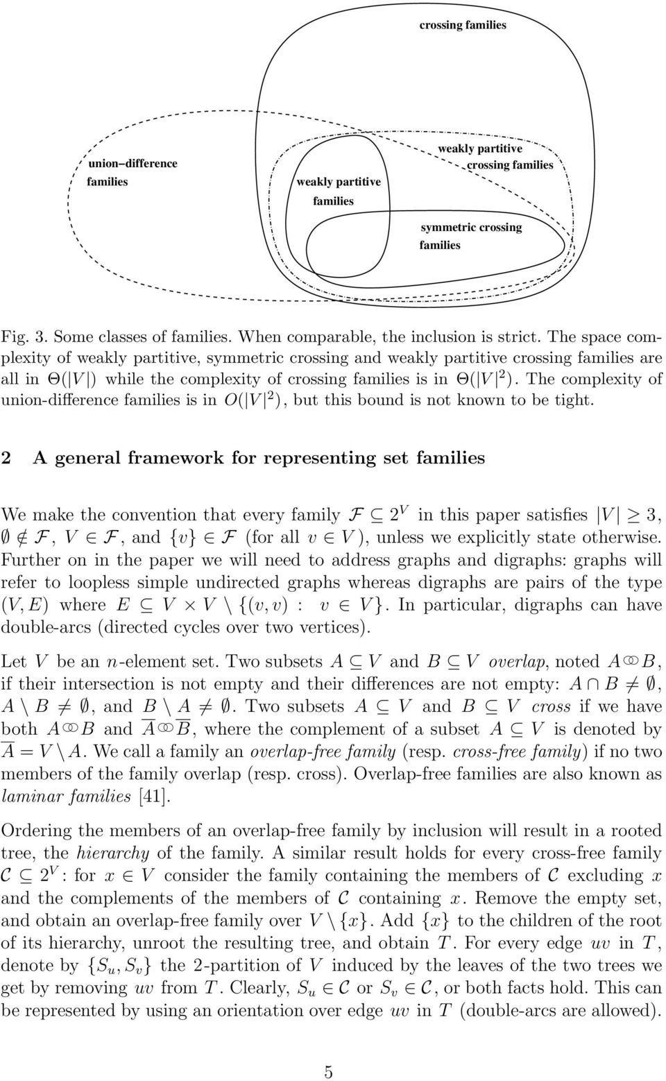 The space complexity of weakly partitive, symmetric crossing and weakly partitive crossing families are all in Θ( V ) while the complexity of crossing families is in Θ( V 2 ).