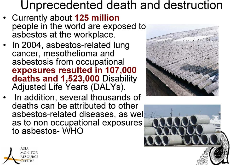 In 2004, asbestos-related lung cancer, mesothelioma and asbestosis from occupational exposures resulted in 107,000