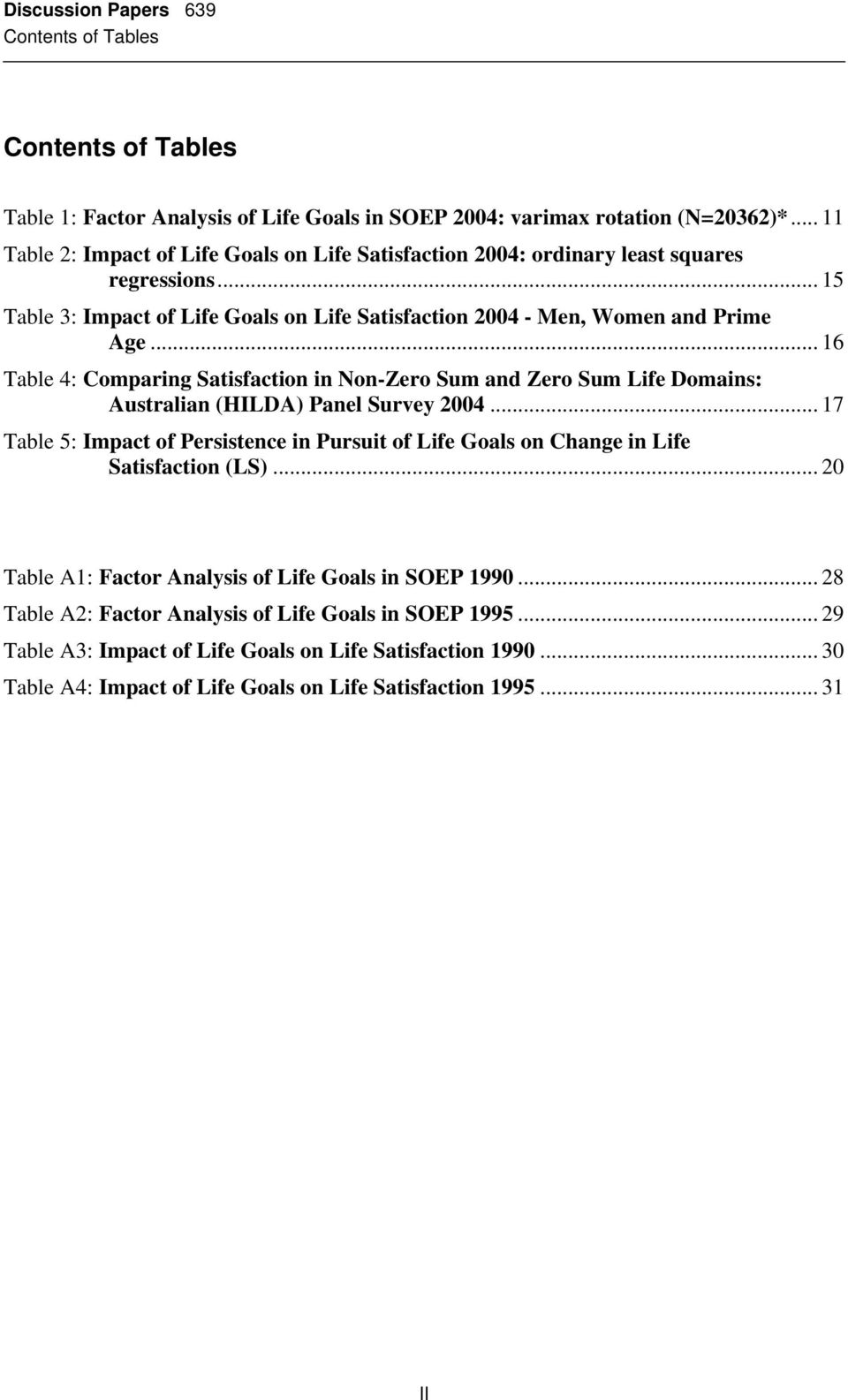 .. 16 Table 4: Comparing Satisfaction in Non-Zero Sum and Zero Sum Life Domains: Australian (HILDA) Panel Survey 2004.