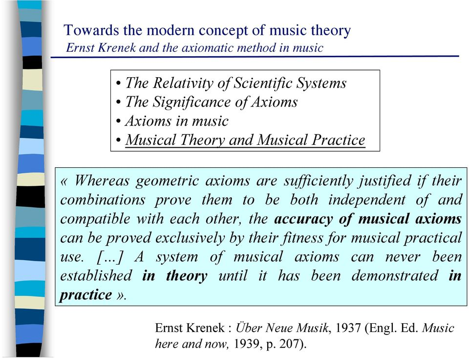 compatible with each other, the accuracy of musical axioms can be proved exclusively by their fitness for musical practical use.
