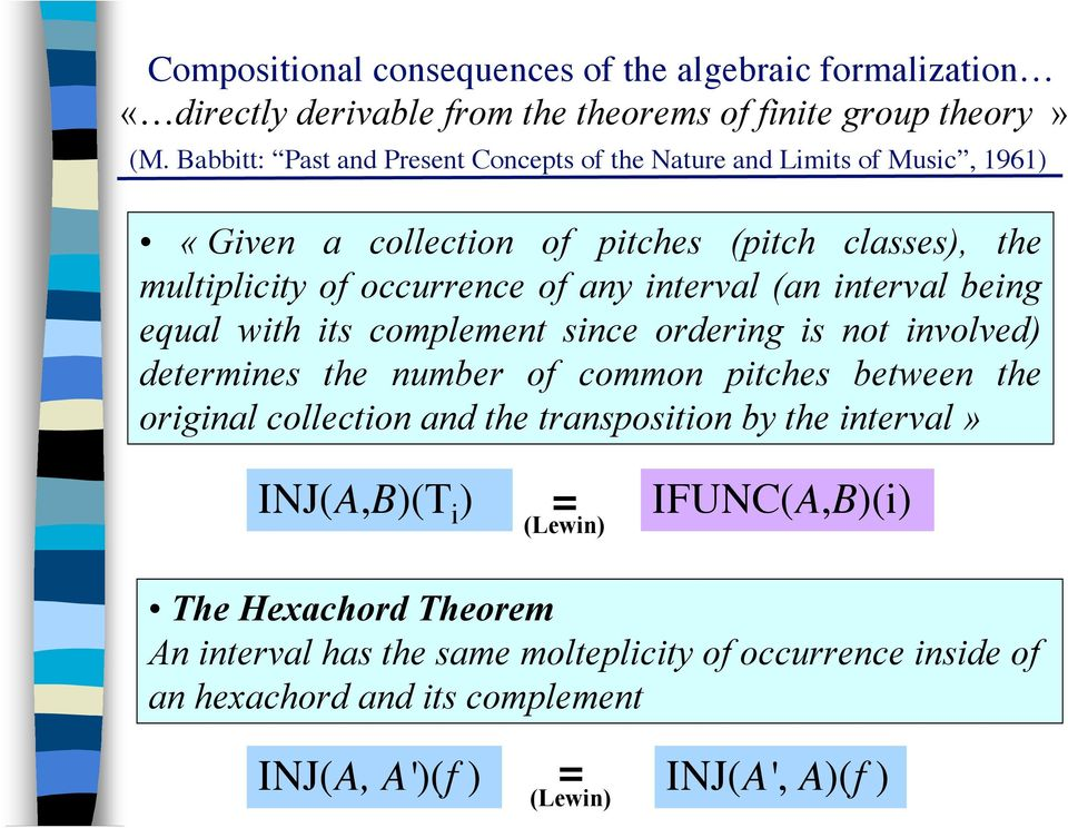 interval (an interval being equal with its complement since ordering is not involved) determines the number of common pitches between the original collection and the