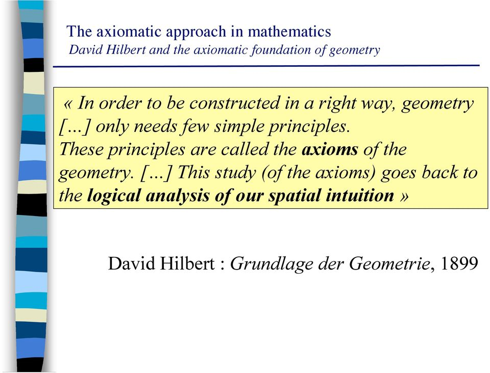 These principles are called the axioms of the geometry.