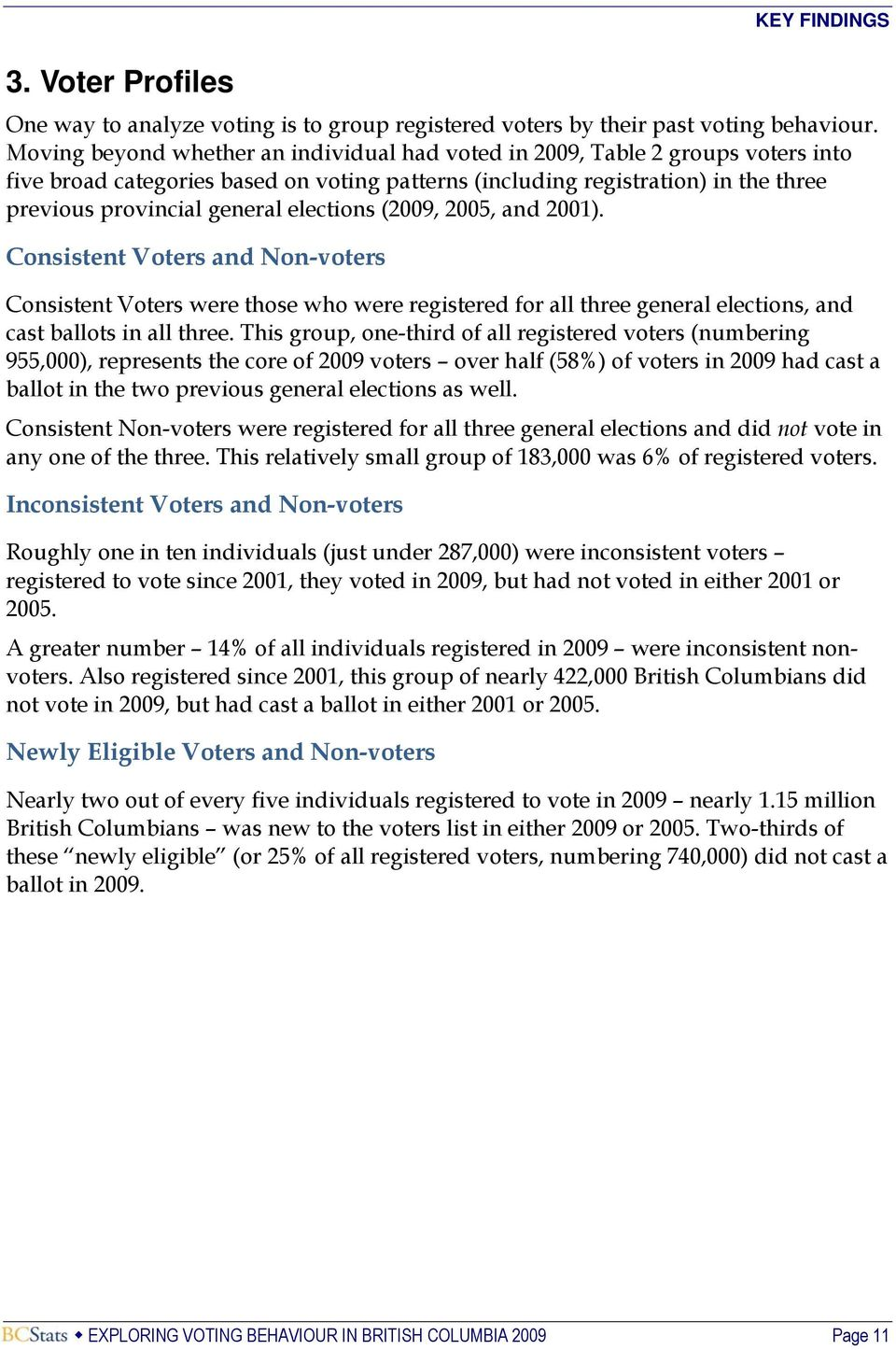 elections (2009, 2005, and 2001). Consistent Voters and Non-voters Consistent Voters were those who were registered for all three general elections, and cast ballots in all three.