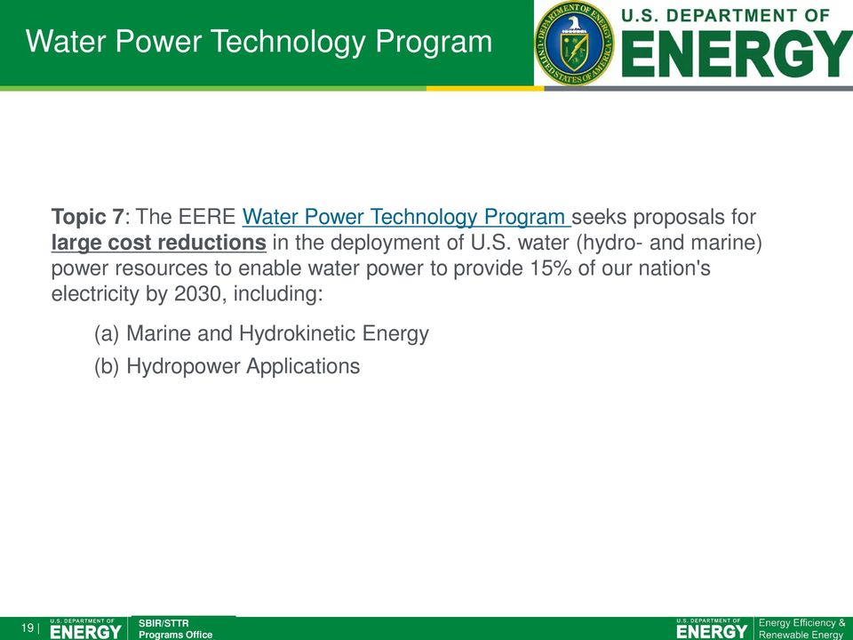 water (hydro- and marine) power resources to enable water power to provide 15% of
