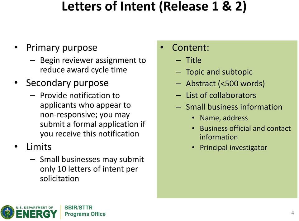 Limits Small businesses may submit only 10 letters of intent per solicitation Content: Title Topic and subtopic Abstract (<500