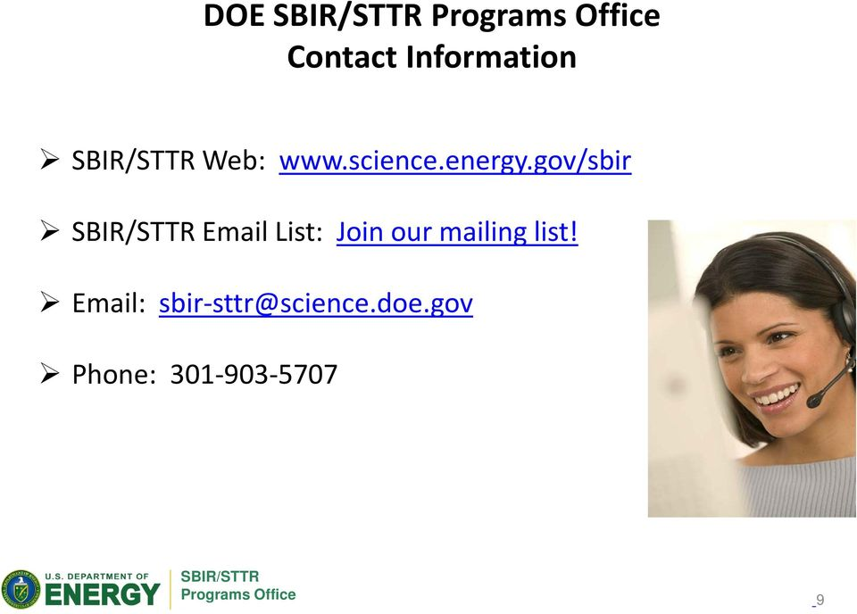 gov/sbir Email List: Join our