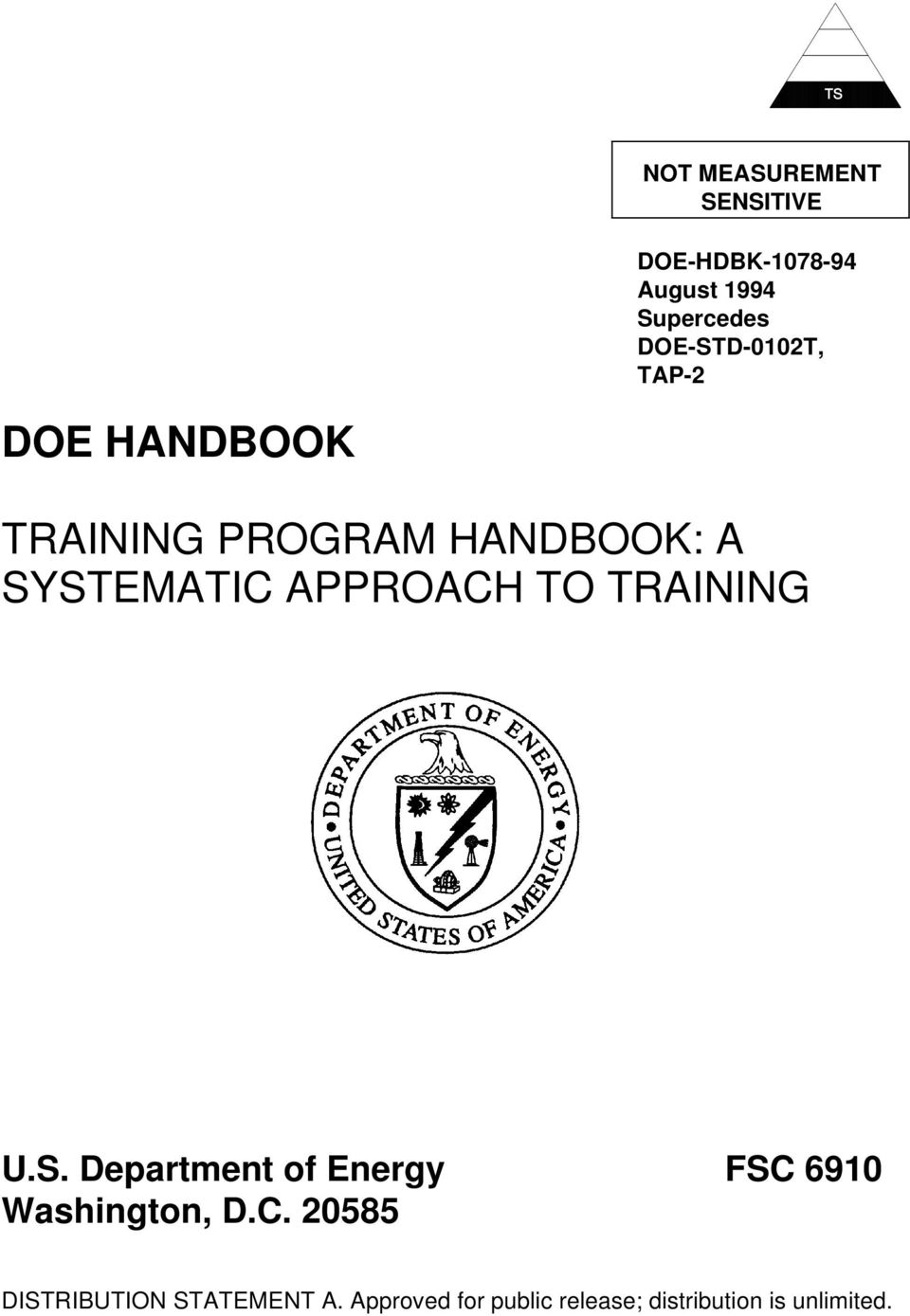 APPROAH TO TRAINING U.S. Department of Energy FS 6910 Washington, D.