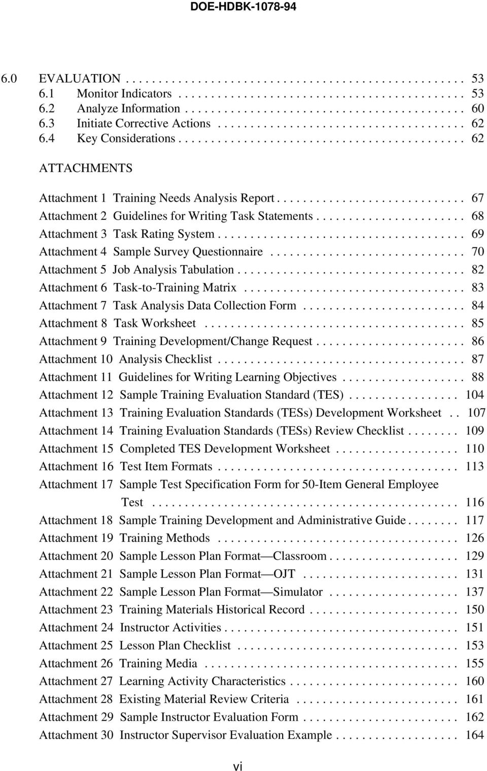 .. 82 Attachment 6 Task-to-Training Matrix... 83 Attachment 7 Task Analysis Data ollection Form... 84 Attachment 8 Task Worksheet... 85 Attachment 9 Training Development/hange Request.