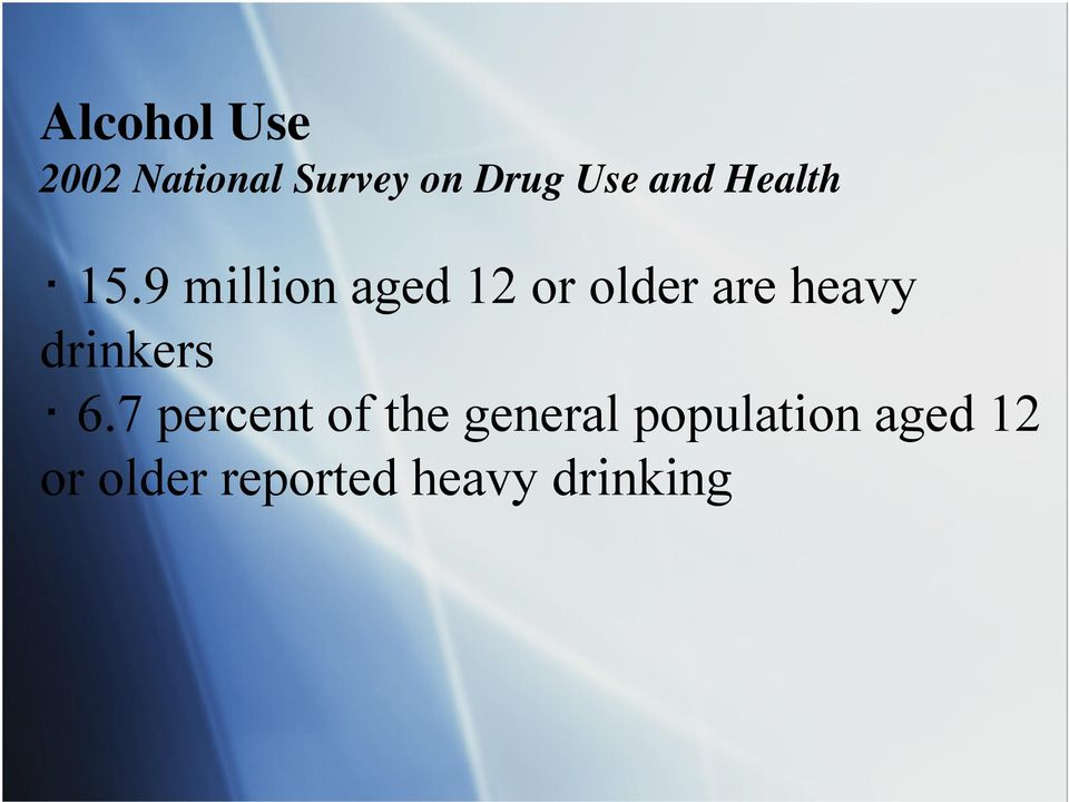 9 million aged 12 or older are heavy drinkers