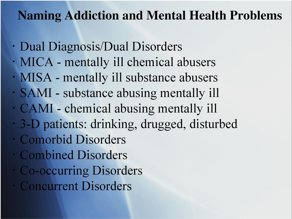 abusing mentally ill CAMI - chemical abusing mentally ill 3-D patients: drinking,