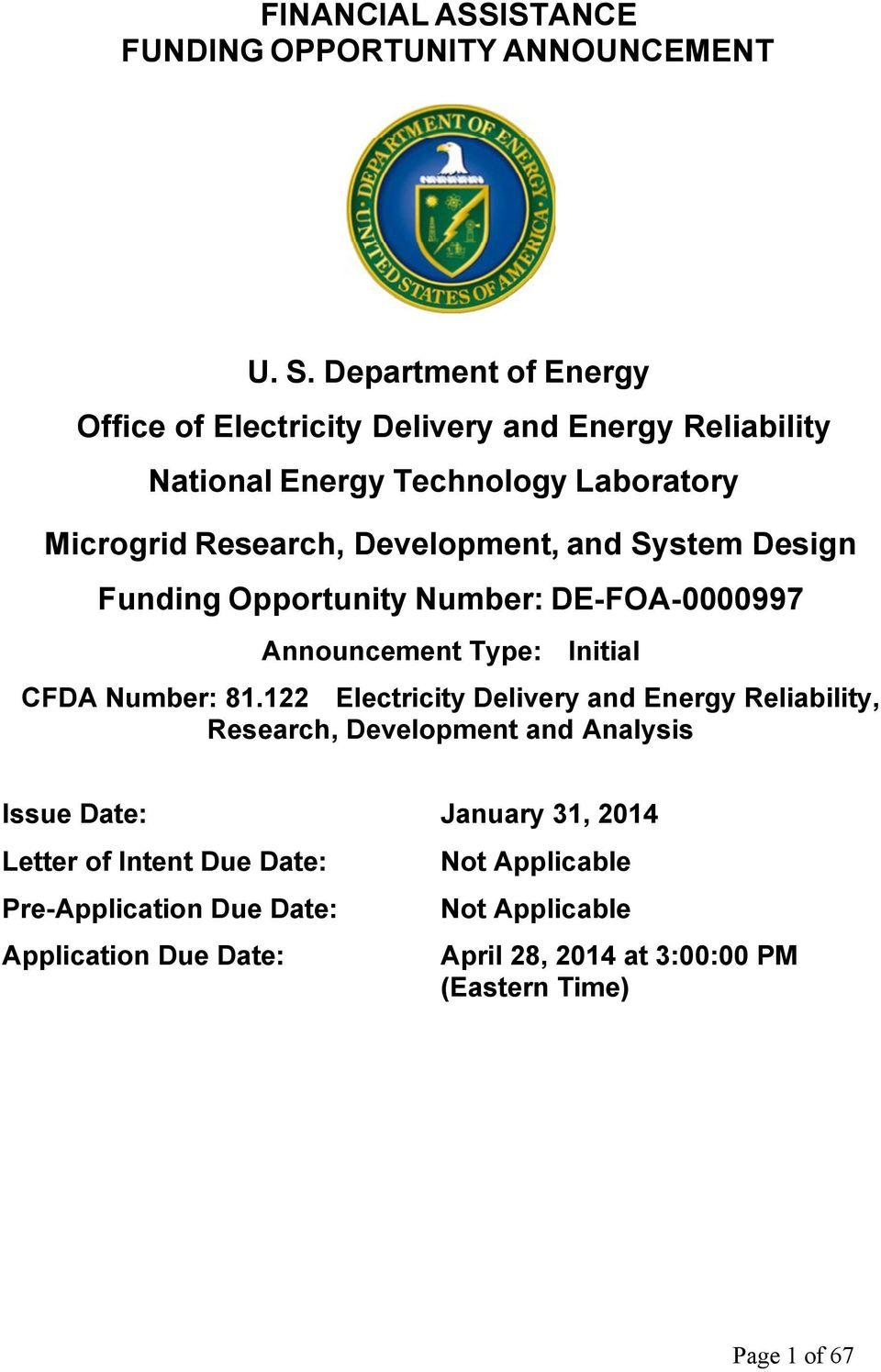 and System Design Funding Opportunity Number: DE-FOA-0000997 Announcement Type: Initial CFDA Number: 81.