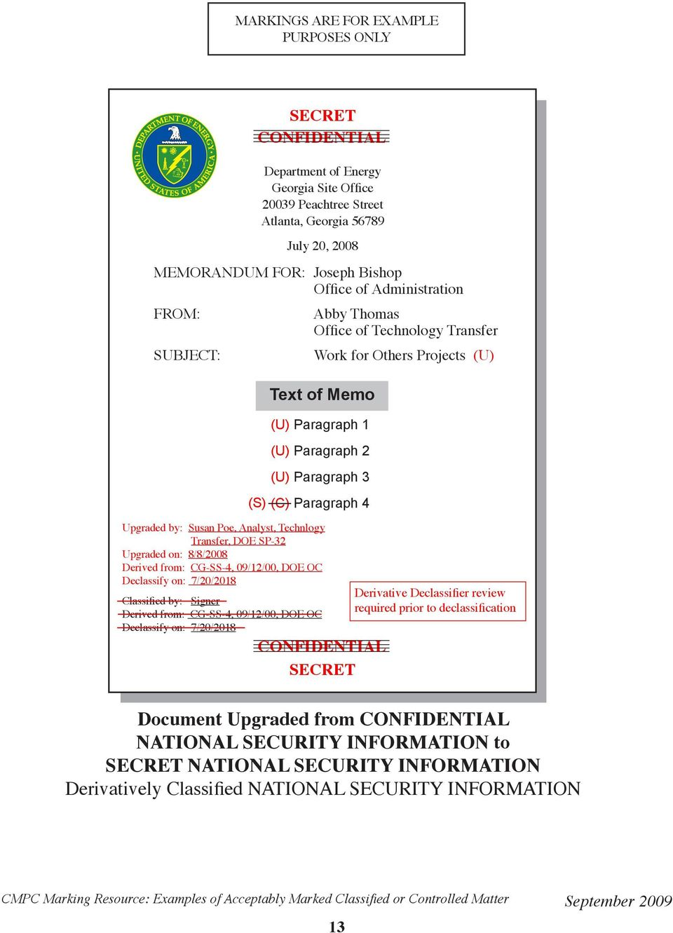 SP-32 Upgraded on: 8/8/2008 Derived from: CG-SS-4, 09/12/00, DOE OC Declassify on: 7/20/2018 Classified by: Signer Derived from: CG-SS-4, 09/12/00, DOE OC Declassify on: 7/20/2018 CONFIDENTIAL