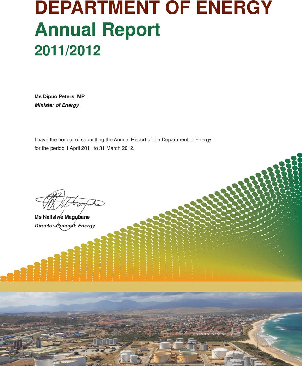 Annual Report of the Department of Energy for the period 1