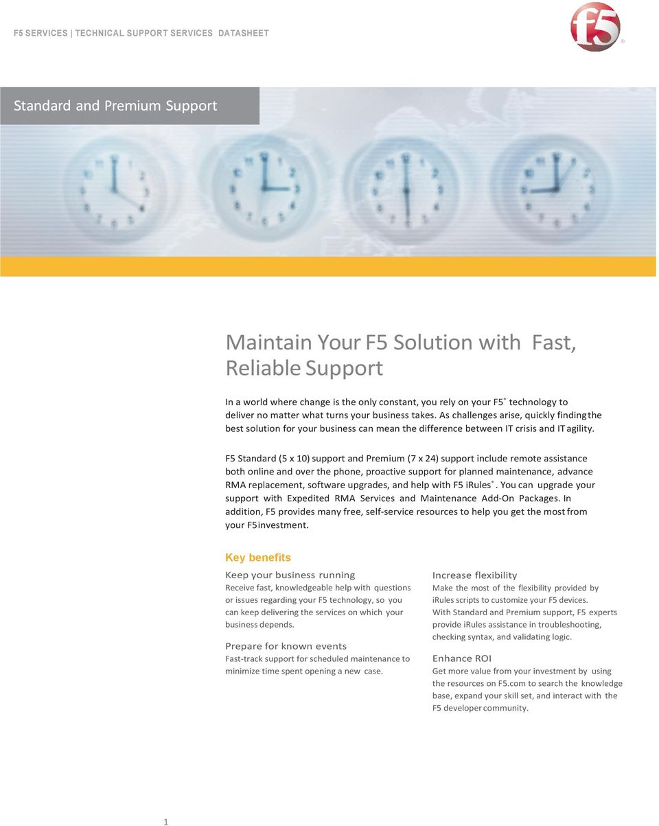 F5 Standard (5 x 10) support and Prmium (7 x 24) support includ rmot assistanc both onlin and ovr th phon, proactiv support for plannd maintnanc, advanc RMA rplacmnt, softwar upgrads, and hlp with F5