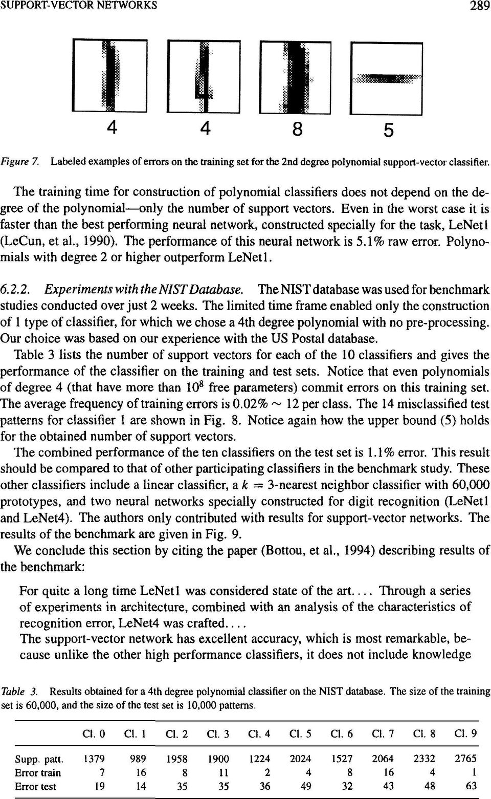 Even in the worst case it is faster than the best performing neural network, constructed specially for the task, LeNetl (LeCun, et al., 1990). The performance of this neural network is 5.1% raw error.