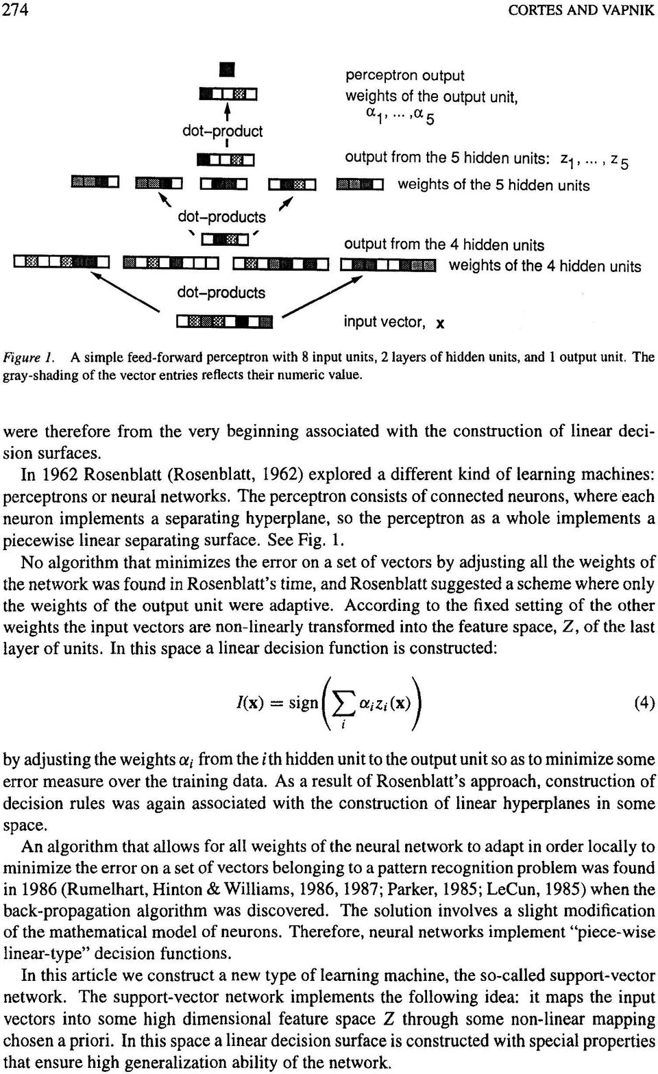 In 1962 Rosenblatt (Rosenblatt, 1962) explored a different kind of learning machines: perceptrons or neural networks.