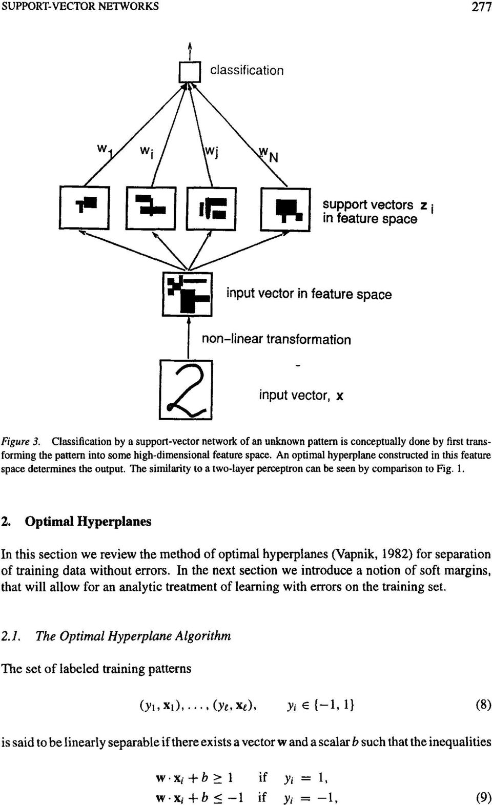 Optimal Hyperplanes In this section we review the method of optimal hyperplanes (Vapnik, 1982) for separation of training data without errors.
