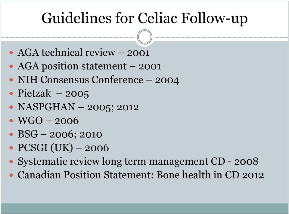 2012 WGO 2006 BSG 2006; 2010 PCSGI (UK) 2006 Systematic review long term