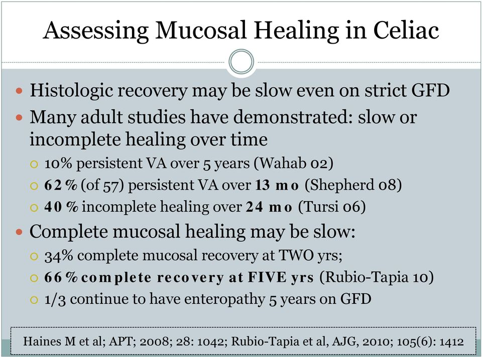 healing over 24 mo (Tursi 06) Complete mucosal healing may be slow: 34% complete mucosal recovery at TWO yrs; 66% complete recovery at FIVE
