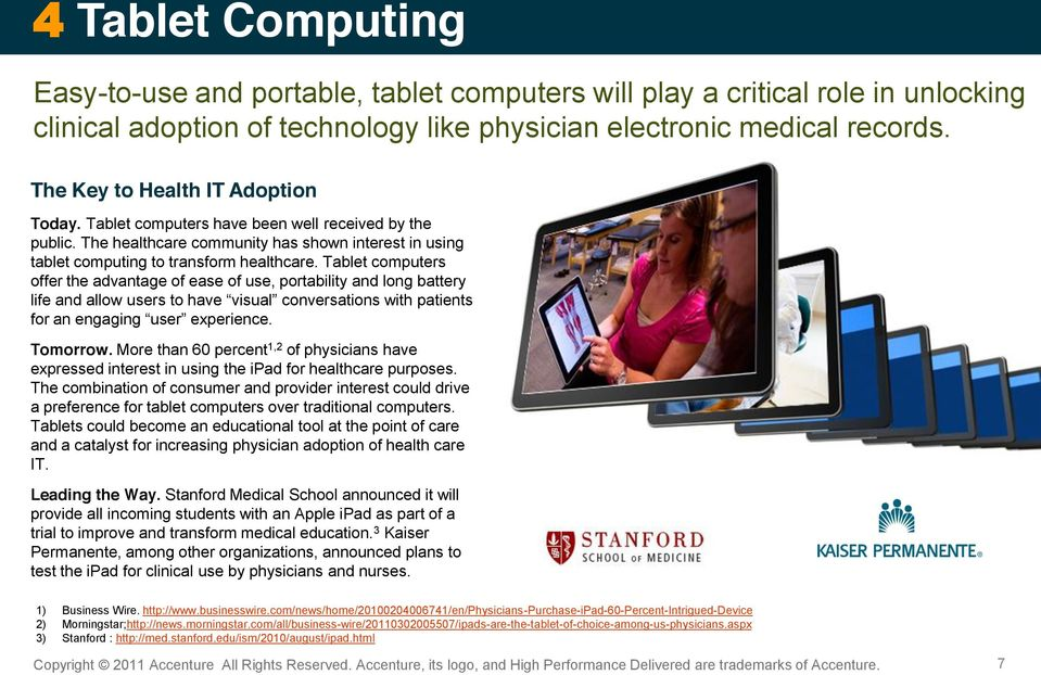 Tablet computers offer the advantage of ease of use, portability and long battery Tomorrow. More than 60 percent 1,2 of physicians have expressed interest in using the ipad for healthcare purposes.