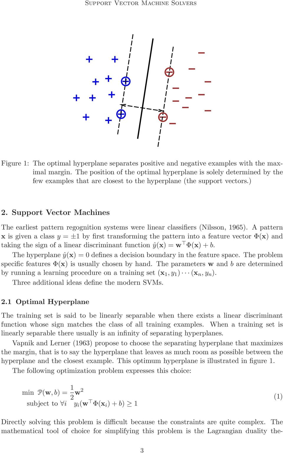 Support Vector Machines The earliest pattern regognition systems were linear classifiers (Nilsson, 1965).