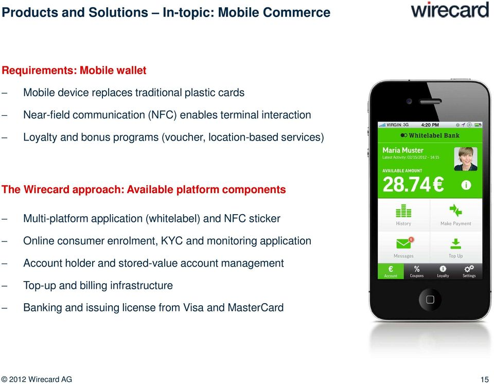 Available platform components Multi-platform application (whitelabel) and NFC sticker Online consumer enrolment, KYC and monitoring