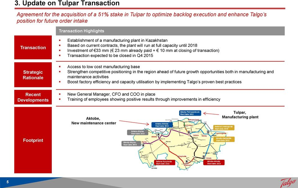 paid + 10 mm at closing of transaction) Transaction expected to be closed in Q4 2015 Access to low cost manufacturing base Strengthen competitive positioning in the region ahead of future growth