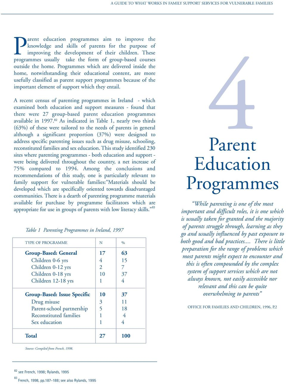 Programmes which are delivered inside the home, notwithstanding their educational content, are more usefully classified as parent support programmes because of the important element of support which