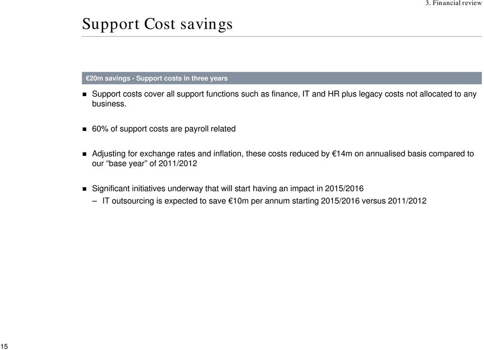 60% of support costs are payroll related Adjusting for exchange rates and inflation, these costs reduced by 14m on annualised basis