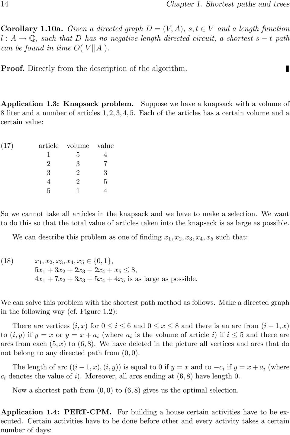 Directly from the description of the algorithm. Application 1.3: Knapsack problem. Suppose we have a knapsack with a volume of 8 liter and a number of articles 1, 2, 3, 4, 5.