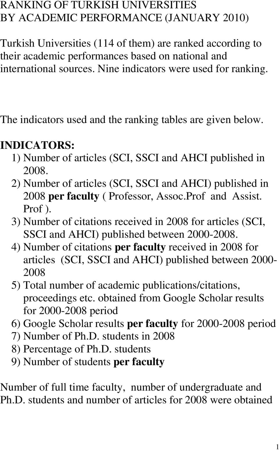 2) Number of articles (SCI, SSCI and AHCI) published in 2008 per faculty ( Professor, Assoc.Prof and Assist. Prof ).