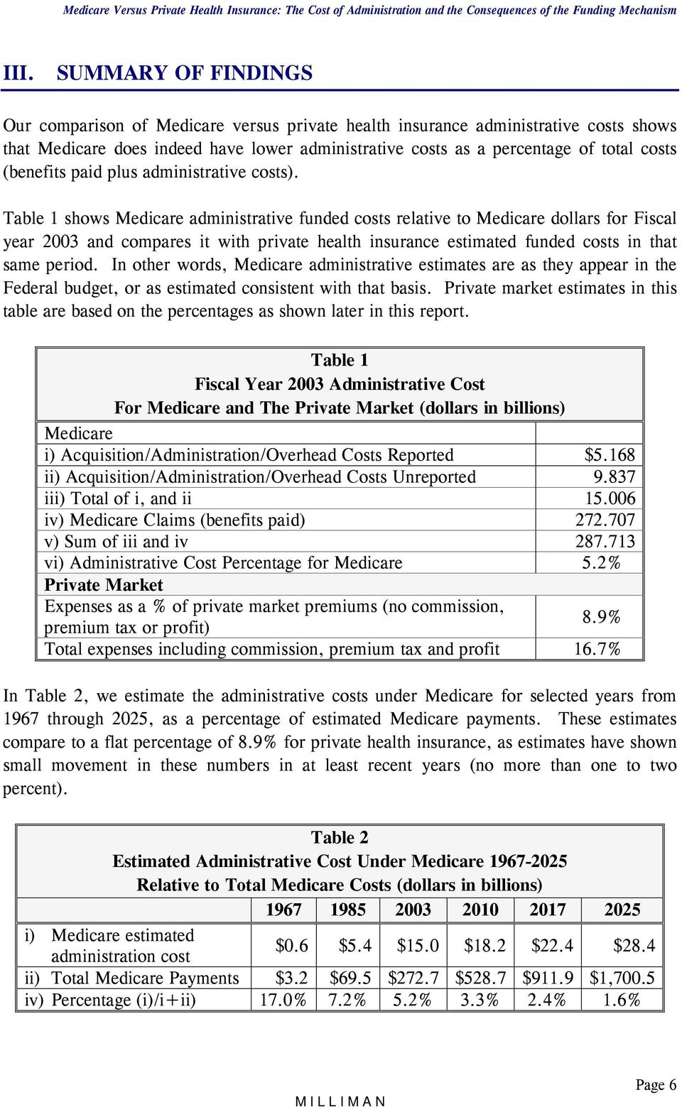 Table 1 shows Medicare administrative funded costs relative to Medicare dollars for Fiscal year 2003 and compares it with private health insurance estimated funded costs in that same period.