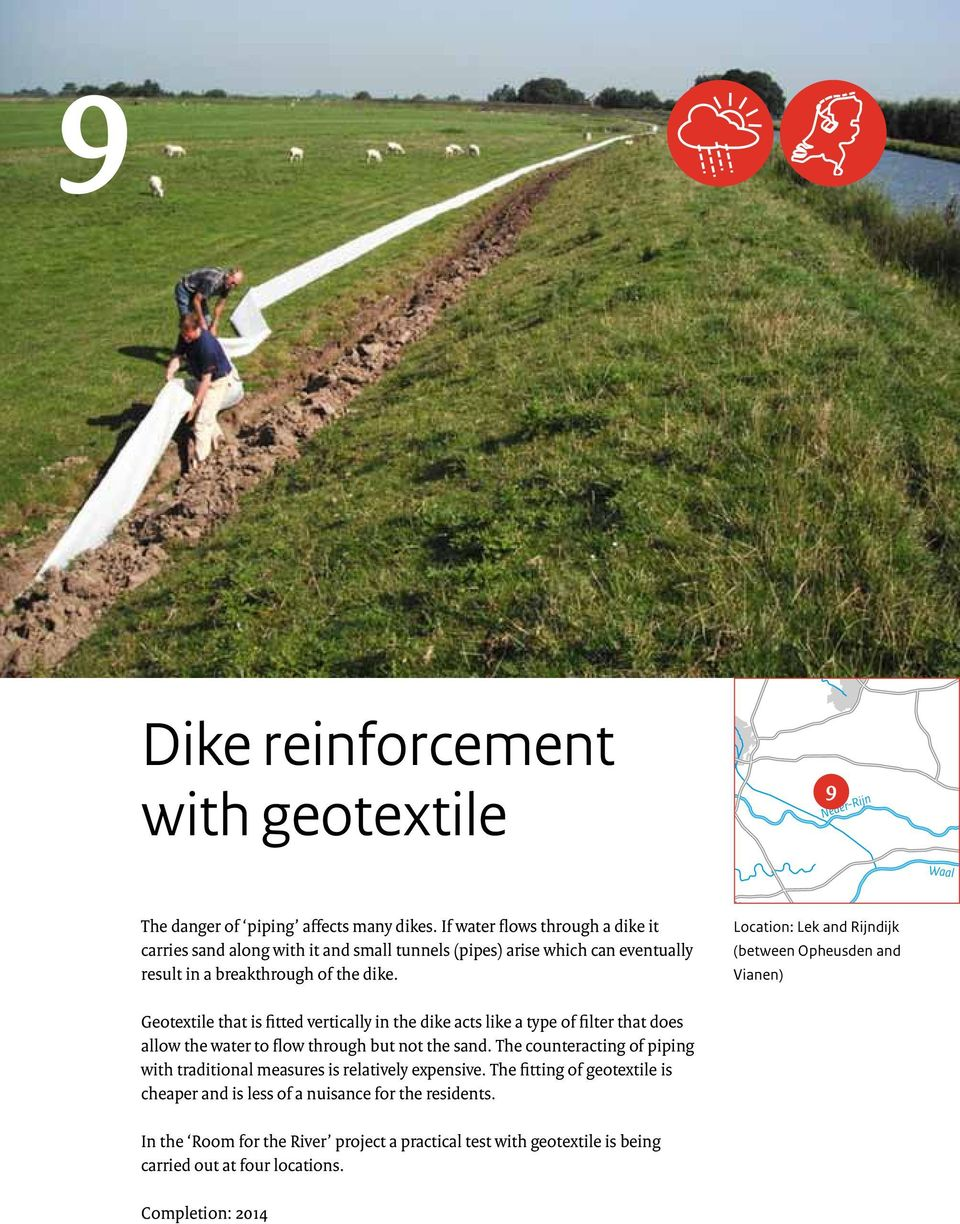 Geotextie 7 tht is fitted verticy in the dike cts ike type of fiter tht does ow the wter to fow through but not the snd.