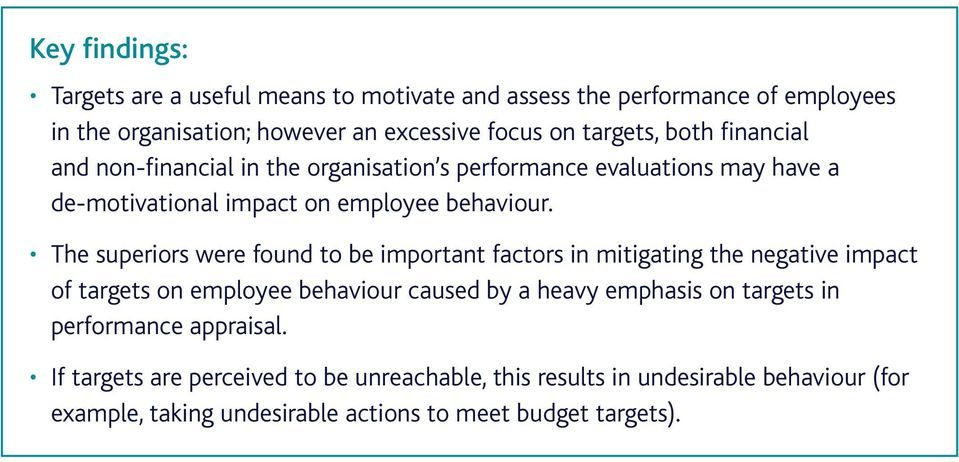 The superiors were found to be important factors in mitigating the negative impact of targets on employee behaviour caused by a heavy emphasis on targets