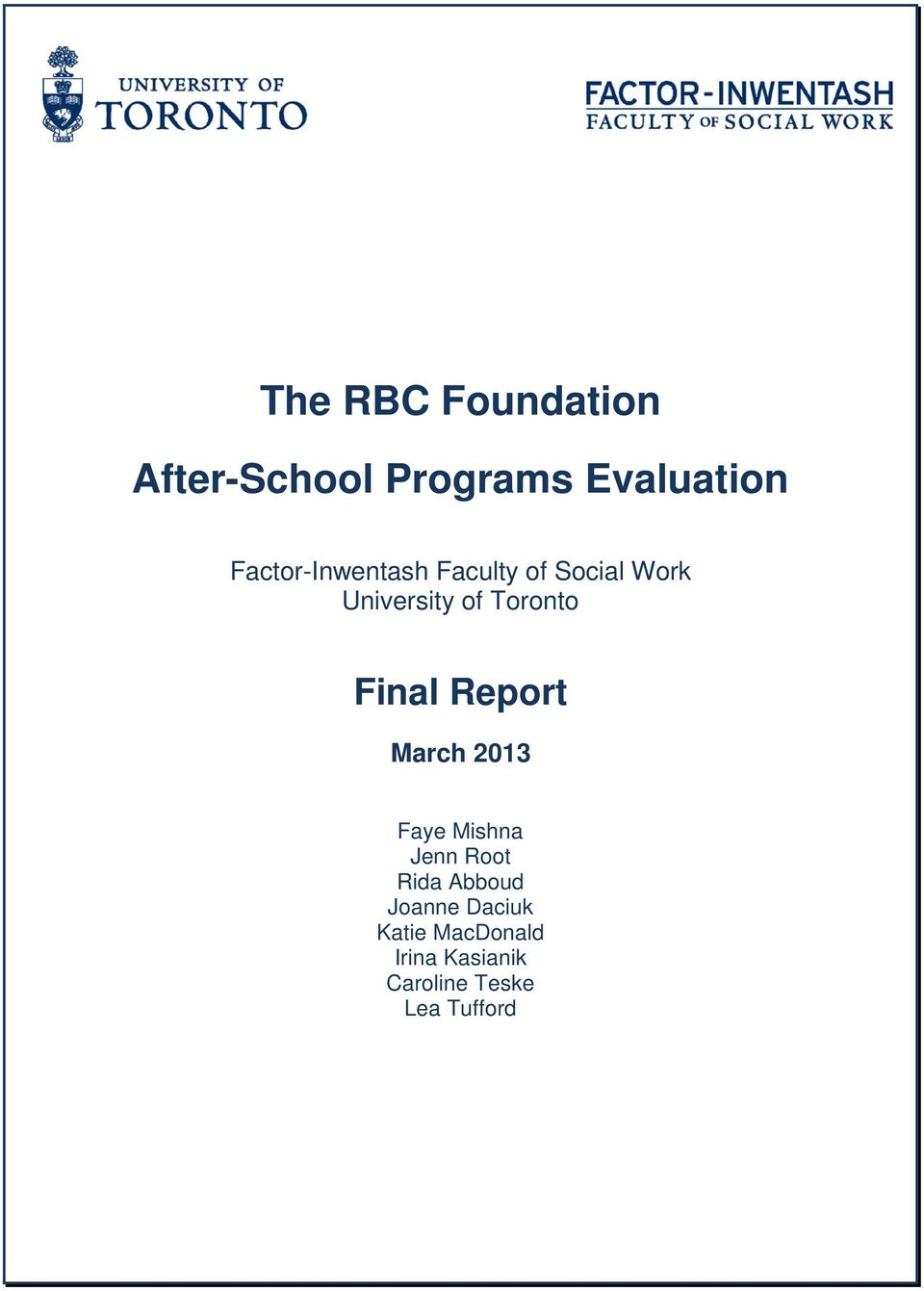Toronto Final Report March 2013 Faye Mishna Jenn Root Rida