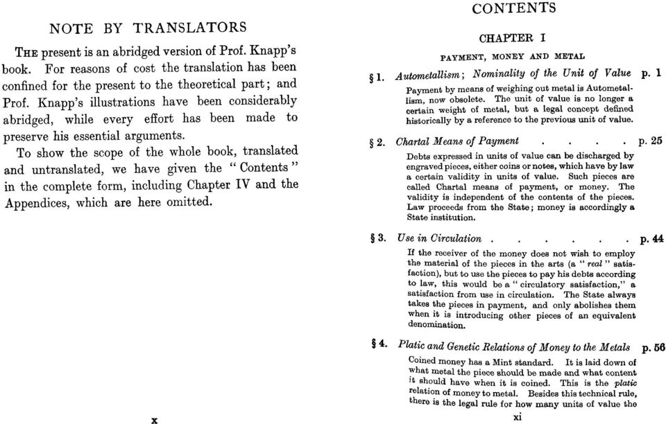 "To show the scope of the whole book, translated and untranslated, we have given the "" Contents"" in the complete form, including Chapter IV and the Appendices, which are here omitted."